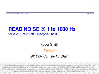 READ NOISE @ 1 to 1000 Hz  for  a 2.5µm cutoff Teledyne  H2RG