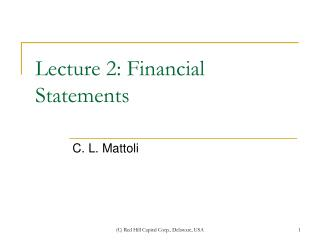 Lecture 2: Financial Statements