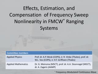 Effects, Estimation,  and Compensation  of Frequency Sweep Nonlinearity  in FMCW * Ranging Systems