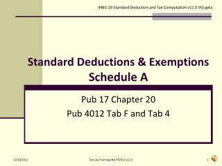 Standard Deductions & Exemptions Schedule A