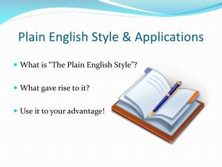 Plain English Style & Applications