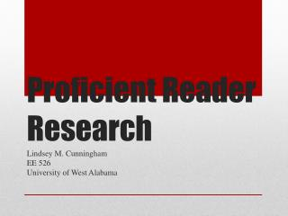 Proficient Reader Research