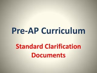 Pre-AP Curriculum