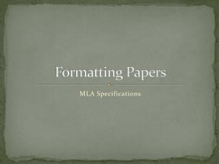 Formatting Papers