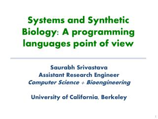Systems  and Synthetic  Biology: A programming languages point of view