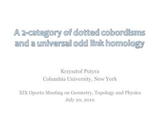 A 2-category of  dotted cobordisms  and a  universal odd  link  homology