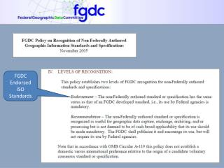 FGDC Endorsed ISO Standards