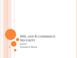 SSL and E-commerce Security