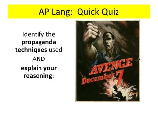 AP Lang:  Quick Quiz