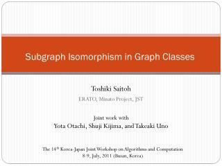Subgraph  Isomorphism in Graph Classes