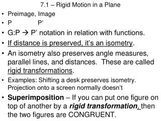 7.1 – Rigid Motion in a Plane Preimage , Image P            P '