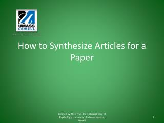 How to Synthesize Articles for a Paper