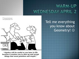 Warm-up Wednesday April 2