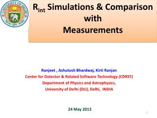 R int Simulations & Comparison with Measurements
