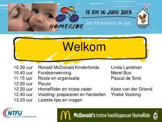 Welkom 10.30  uur Ronald McDonald  Kinderfonds Linda  Landman