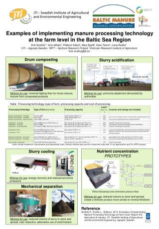 Examples of implementing manure processing technology at the farm level in the Baltic Sea Region