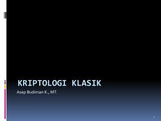 Kriptologi Klasik