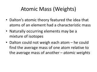 Atomic Mass (Weights)