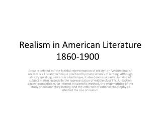 Realism in American Literature 1860-1900