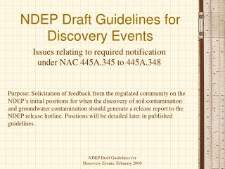 NDEP Draft Guidelines for Discovery Events