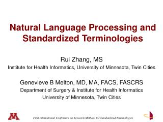 Natural Language Processing and  Standardized Terminologies