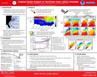 Coastal  Ocean  I mpact  on Hurricane Irene (2011)  Intensity