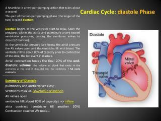 Cardiac  Cycle:  diastole Phase