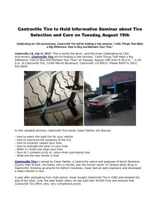 Castroville Tire to Hold Informative Seminar about Tire Sele