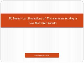 3D Numerical Simulations of  Thermohaline  Mixing in Low-Mass Red Giants