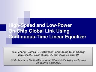 High-Speed and Low-Power  On-Chip Global Link Using Continuous-Time Linear Equalizer