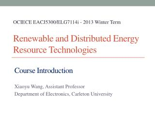 Renewable and Distributed Energy Resource Technologies