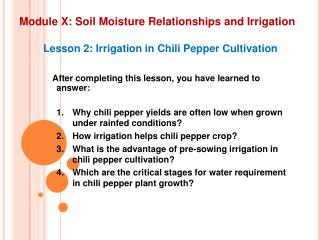 Module X: Soil Moisture Relationships and Irrigation