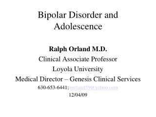 Bipolar Disorder and Adolescence