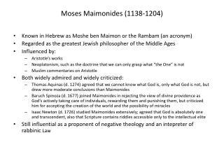 Moses Maimonides (1138-1204)