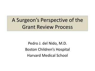 A Surgeon's Perspective of the Grant Review Process
