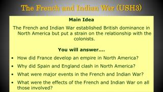 The French and Indian War (USH3)