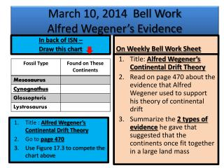 March 10, 2014  Bell Work Alfred Wegener's Evidence