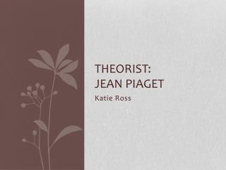Theorist: Jean Piaget