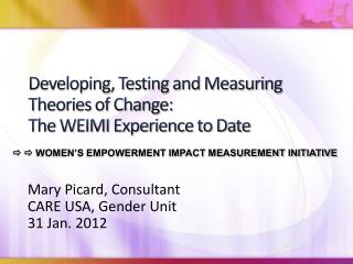 Developing, Testing and Measuring Theories of Change: The WEIMI Experience to Date