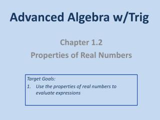Advanced Algebra w/Trig