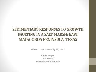 NSF-GLD Update – July 12, 2013 Kevin Yeager Phil Wolfe University of Kentucky