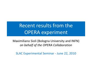 Recent results from  the OPERA  experiment