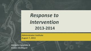 Response to  Intervention  2013-2014