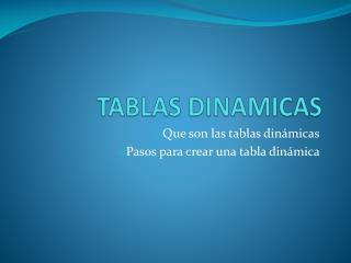 TABLAS DINAMICAS