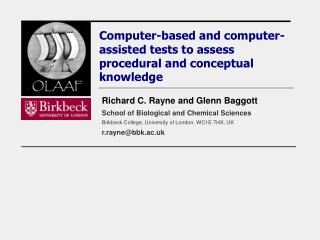 Computer-based and computer-assisted tests to assess procedural and conceptual knowledge