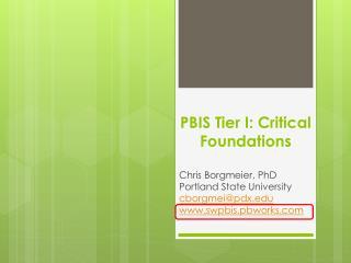 PBIS�Tier I: Critical Foundations