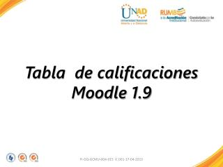 Tabla  de calificaciones  Moodle 1.9