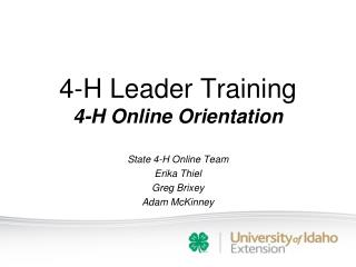 4-H Leader Training 4-H Online Orientation