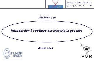 Introduction à  l'optique  des  matériaux gauches