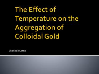 The Effect of Temperature on the Aggregation of Colloidal Gold